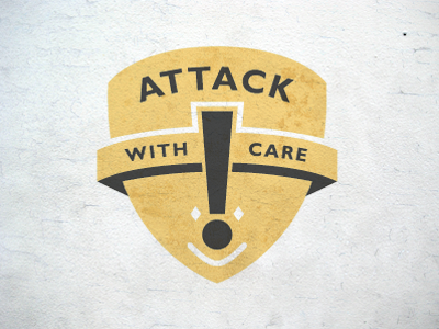 Attack with Care logo band face exclamation symbolism