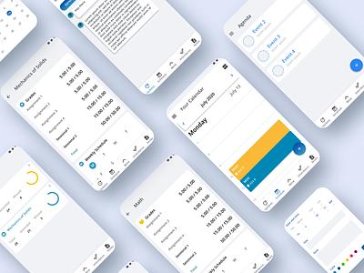 College Scape: A study app UI design app study lighttheme calendar timetable schedule