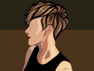 Vector art bold strong shorthair brown illustrator vector girl
