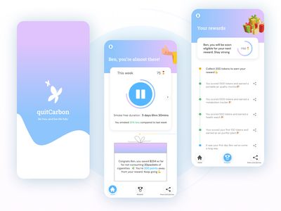 quitCarbon app befree friendly quitsmoking dribbblers uidesign figma userinterface appdesign dailyui userexperience