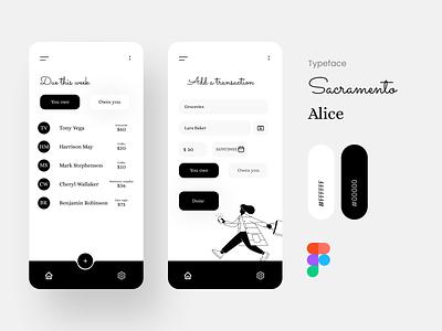Expense manager app appdesign visual lending money minimal white black manager expense ux ui