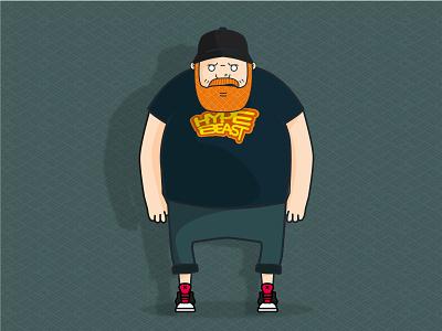 Hypebeast sneakerhead hype ginger bearded man beard illustrator design illustration tshirt vector