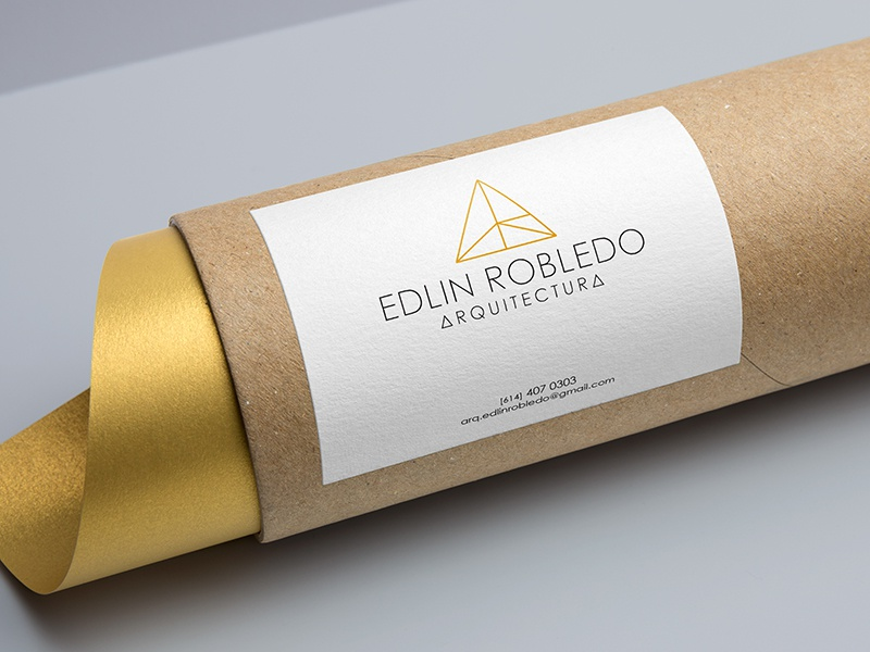 Edlin Architecture geometric gold branding architecture logo