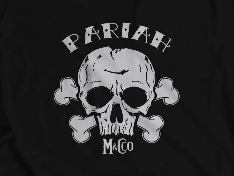 Pariah M&Cco. skulls skull and crossbones skull design vector tshirt illustration logo