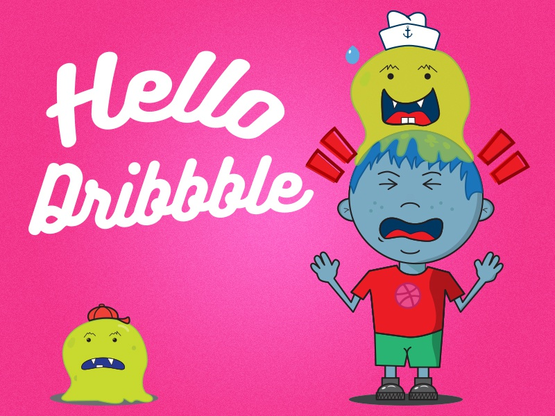 Hello Dribbble kid vector blob monster illustration