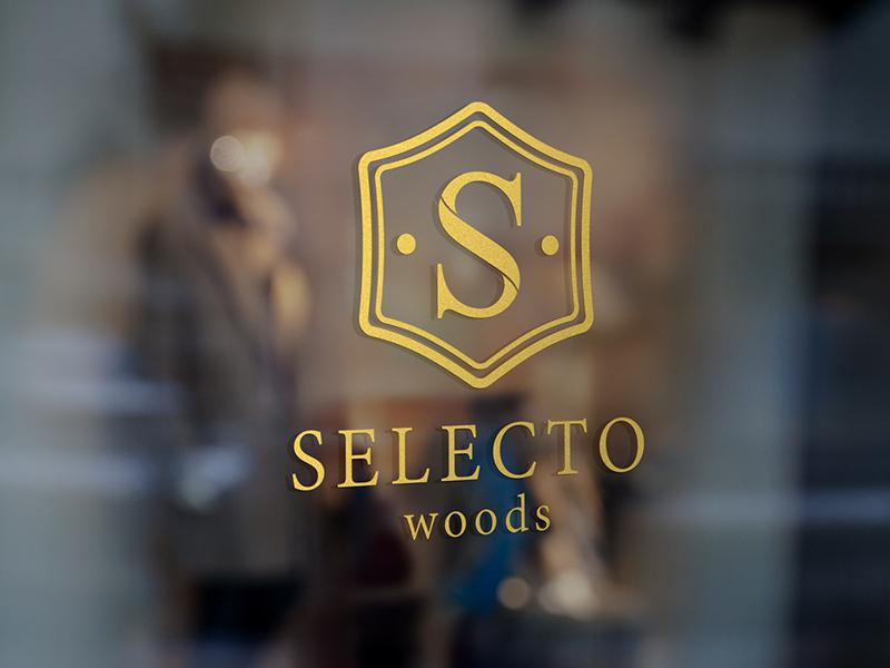 Selecto furniture logo woods selector gold foil vector design branding brand logo