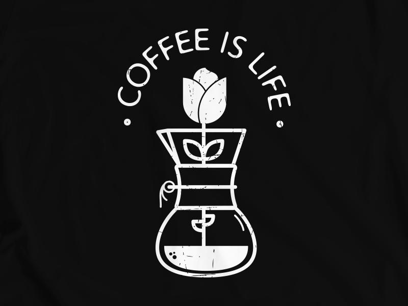 Coffee Is Life chemex coffee tshirt graphics tshirt design tshirt illustration design vector