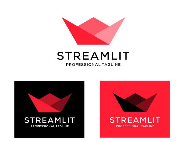 Stream-lit logo design typography website minimal logo design logos logo stream streaming streamlit design illustrator flat branding