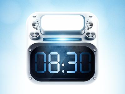 Dribbble alarm clock time icon ios blue light lens glow
