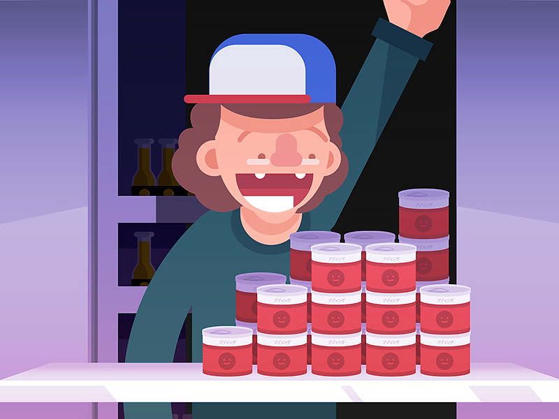 Dustin found the pudings! things strangerthings gifs stranger strangergifs netflix loop gif flat animation