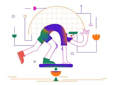 Balance lineart line white boy life balance flat ai vector design art character illustration design