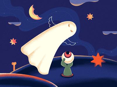 Spooky Ghost blue ghost spooky halloween character design art illustration design