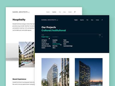 Handel Architects filter buildings visual design portfolio marketing website architecture ux ui design