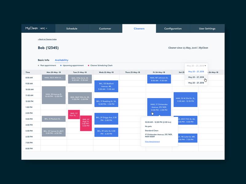 Cleaner Schedule tool app product ux ui design