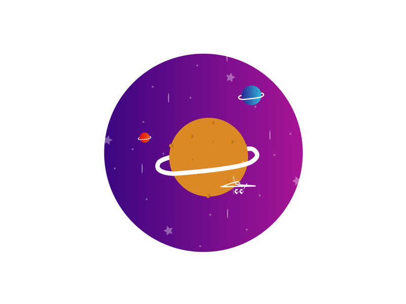 space.... space 2d art vector drawing illustration flat creative art design
