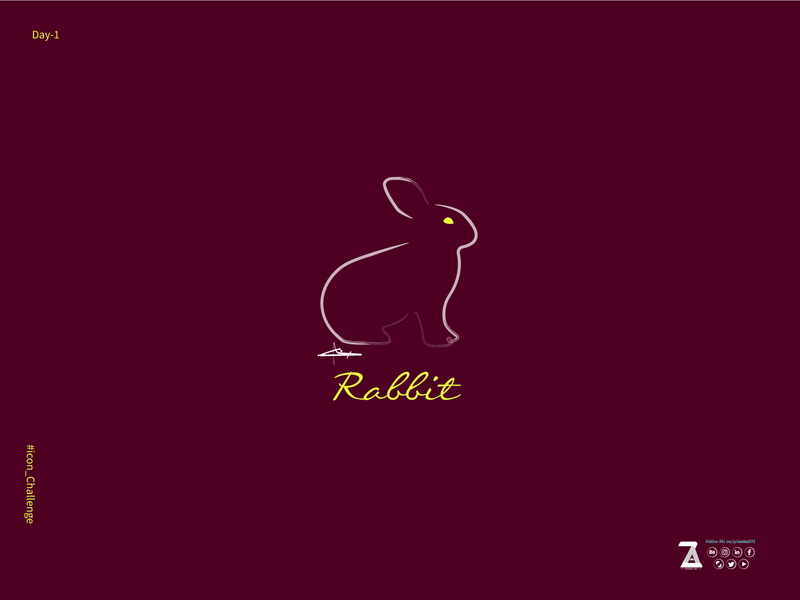 Rabbit-logo logo 2d art vector drawing illustration flat art design