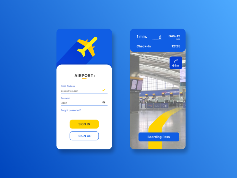 Airport navigation abstract plane yellow blue app navigation nav aircraft airline airport airplane air clean flat ui ux figma design