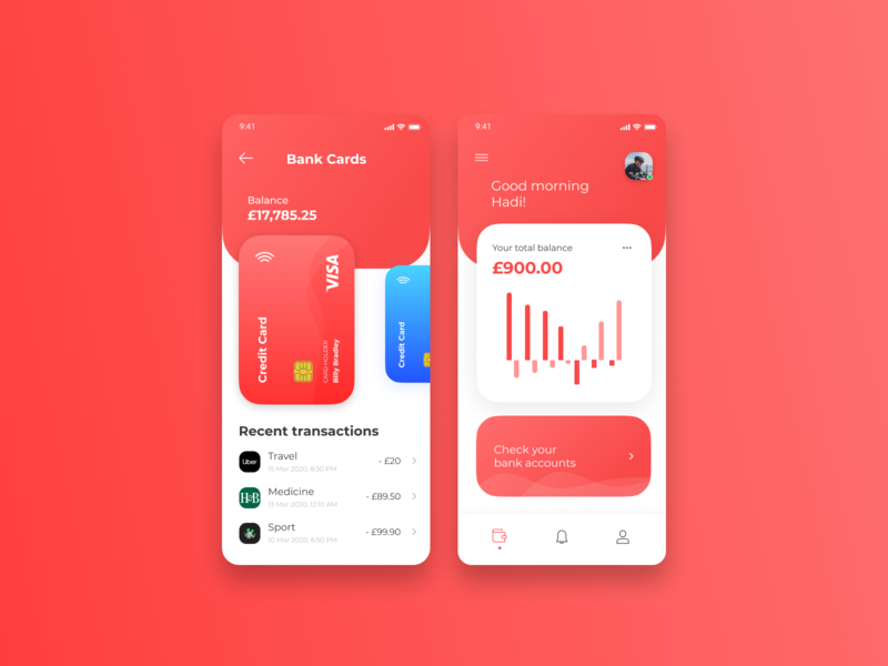 Banking App bank card bank app banking app red finance banking bank clean flat ux ui figma design