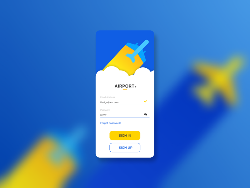 Airport app login login sign up signup sign in sign blue yellow airplanes aircraft airline air airports airplane airport clean flat ux ui figma design