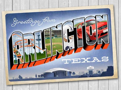 Greetings from arlington texas by ellen giles dribbble park place is breaking ground on the first and only mercedes benz dealership in arlington tx this postcard will be giveaway in the goodie bag m4hsunfo
