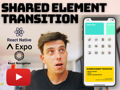 React Native Shared Element Transition - Episode 1 animated cards carousel element transition shared element android ios reactjs youtube tutorial github youtube tutorial animation react native