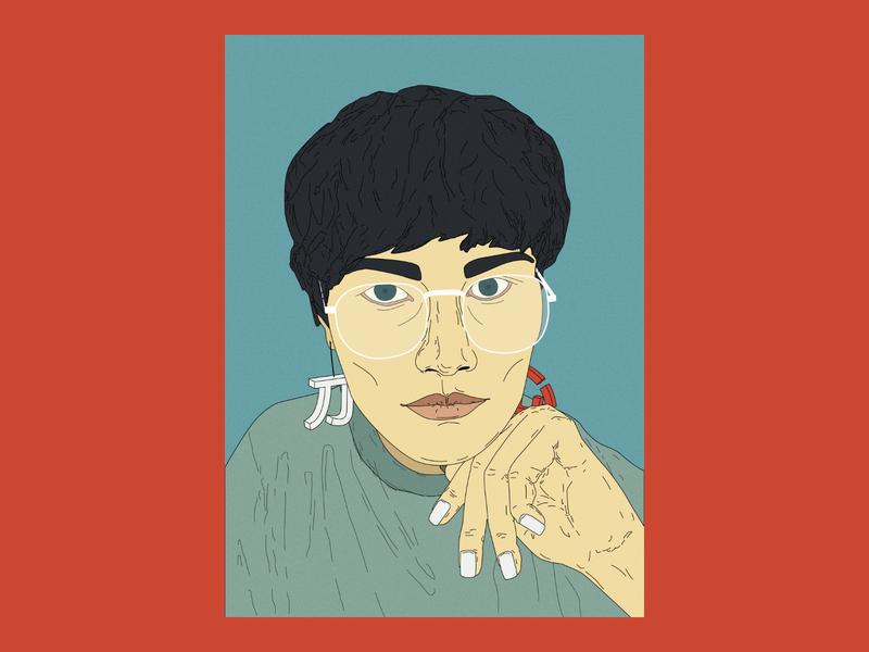 Yuliana Artwork heart xīn way dào reader glasses girl woman people illustration digital art portrait