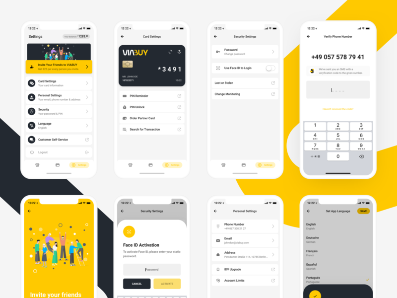 VIABUY Mobile Application: Settings app settings settings crossplatform mobile application mobile application design ux design ui design mobile application prepaid card fintech viabuy