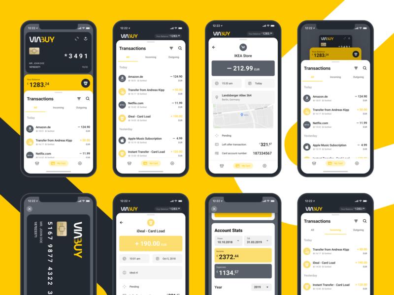 VIABUY Mobile Application: Transactions finance account balance banking account stats card account card purchase transactions prepaid card fintech viabuy