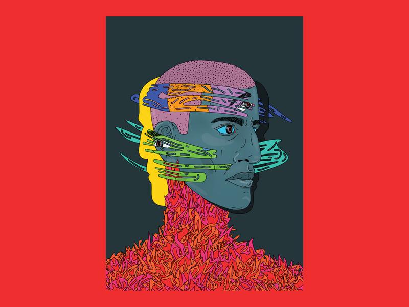 On Fire Artwork surrealism man boy fire portrait vector illustration digital art illustraion