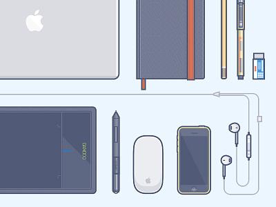 Work tools earpods bamboo 5c iphone macbook work tools wacom moleskine vector illustration stuff