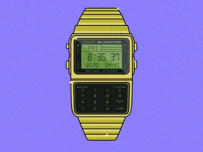 Casio Calculator Watch vector cartoon minimal logo icon flat design illustration calculator watch