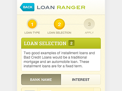 Loan Ranger iphone interface form field app switch tab steps step by step day by day process finance mobile