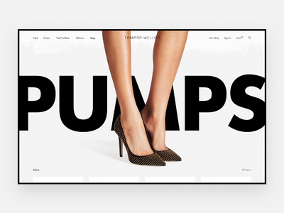 Tamara Mellon Category Exploration 2 photography futura big type shoes luxury brand luxury shopify minimal pumps category product page landing page high-end fashion ecommerce