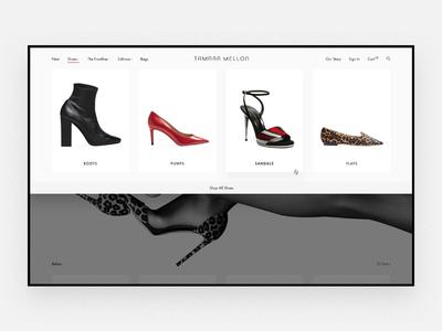 Tamara Mellon Navigation product photography navigation dropdown shopify shoes minimal luxury landing page homepage high-end fashion ecommerce