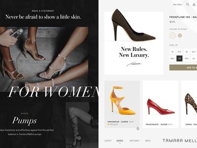 Tamara Mellon Moodboard style tile shoes moodboard shopify minimal luxury brand luxury high-end fashion ecommerce