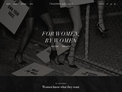 Tamara Mellon Design Exploration: Homepage Detail 1 shopify shoes minimal luxury brand luxury landing page homepage high-end fashion ecommerce