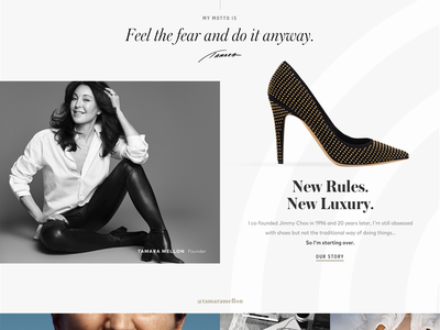 Tamara Mellon Design Exploration: Homepage Detail 3 profile about product photography shopify shoes minimal luxury brand luxury landingpage homepage high-end fashion ecommerce