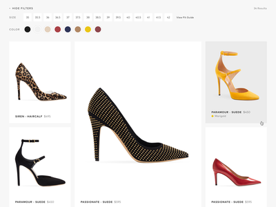 Tamara Mellon Design Exploration: Category Detail swatch palette shopify shoes minimal luxury brand luxury product masonry grid category high-end fashion ecommerce