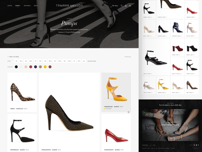 Tamara Mellon Design Exploration: Category Full hover palette swatch shopify shoes minimal luxury lifestyle masonry grid category product high-end fashion ecommerce
