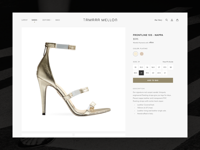 Tamara Mellon Design Exploration: Product Detail Page catalog product photography shopify shoes minimal swatches sizes options grid detail product high-end fashion ecommerce