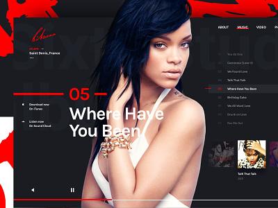 Rihanna white red black ui music web rihanna