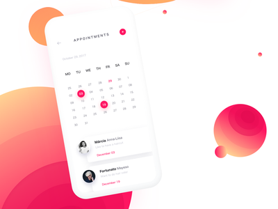 Calendar gradient appointment mobile calendar