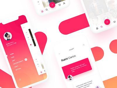 Queno screens gradient mobile camera feed search menu
