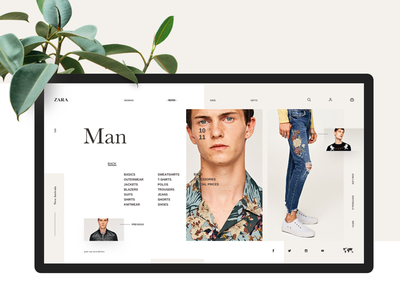 Zara fashion ui white minimal website zara