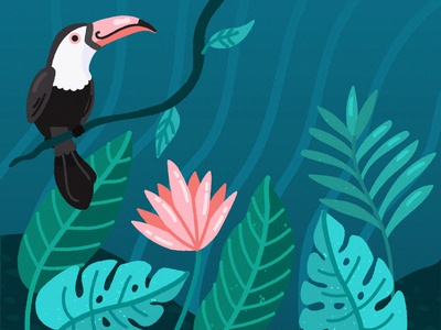 Tropical tucan jungle illustration freepik