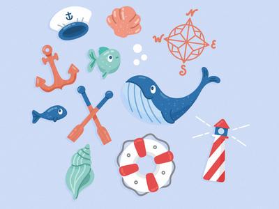 Marine Life Characters whale sea marine