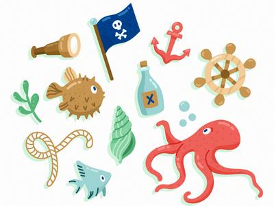 Marine Life Characters pirates fish pufferfish octopus marine illustration freepik