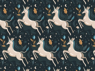 Unicorn Pattern 1 pattern unicorn illustration freepik