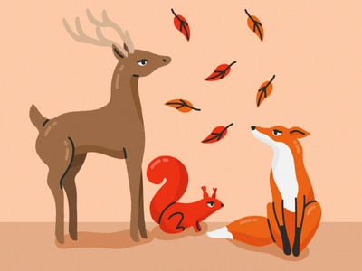 Forest animals deer squirrel fox trotyl-nat illustration freepik