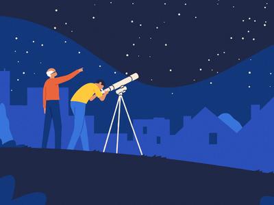 Discovery flat 2d illustrator telescope night character illustration